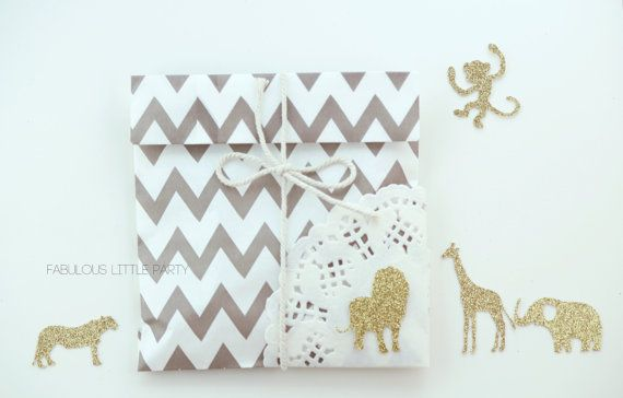 KIT of 25 striped favor bags, SAFARI animals&string baby shower/party favor bags Navy/Black/Gold foil baby shower favors/girl boy birthday