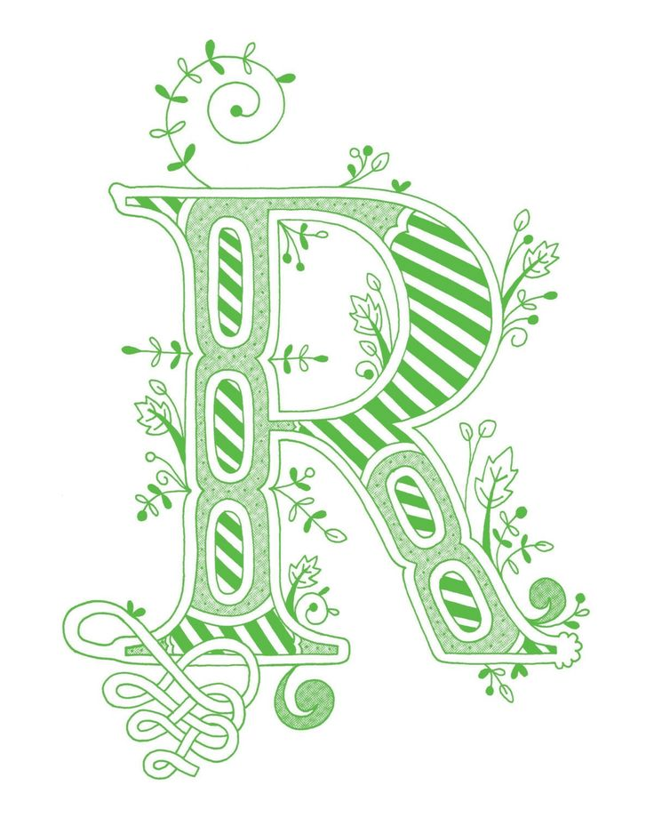 Hand Drawn Monogrammed Print The Letter R In Color Green