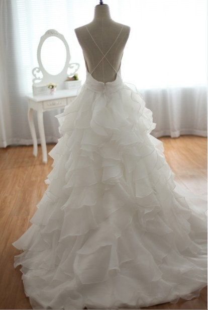 Open Back Cross Straps Taffeta Organza Ruffles Wedding Dress Deep V Neckline Spaghetti Dress with Train. $390.00, via Etsy.