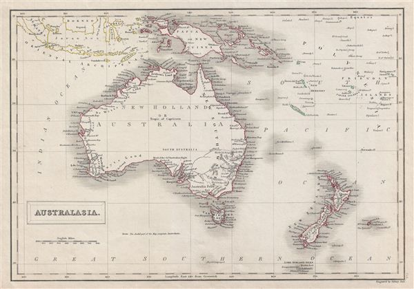 Antique map of Australia by Adam and Charles Black, c1840.