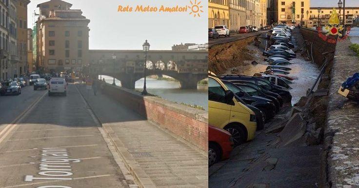 #Prima e #Dopo ecco come è sprofondato Lungarno Torrigiani a seguito di una rottura di una tubazione. Guarda sulla nostra pagina Facebook il video  #Firenze by retemeteoamatori