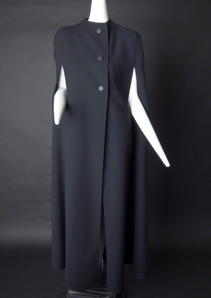 PAULINE TRIGERE-1970s Black Wool Full Length Cape, Size-6