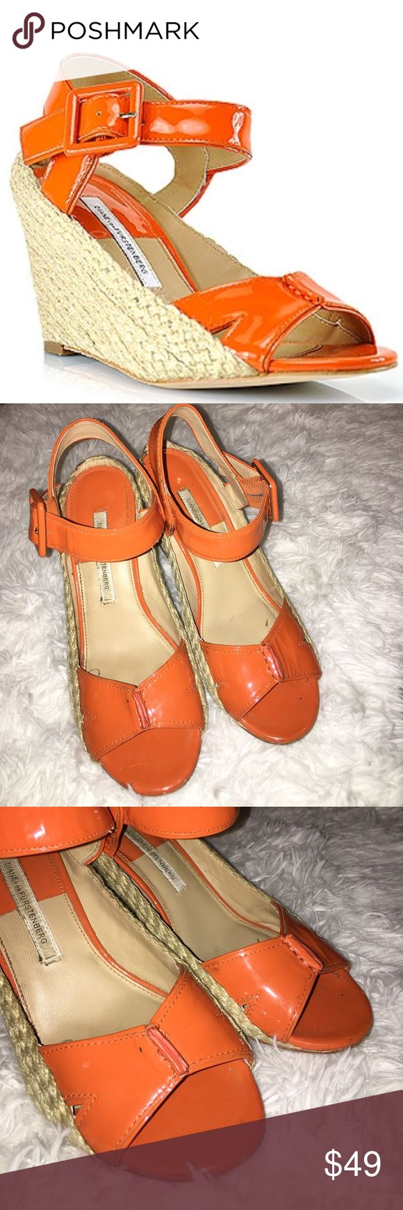 diane von furstenberg orange espadrille shoes 7.5 This is a pair of diane von furstenberg orange espadrille wedge shoes in a 7.5, good used condition! I ship fast! Happy poshing friends! Diane Von Furstenberg Shoes Espadrilles
