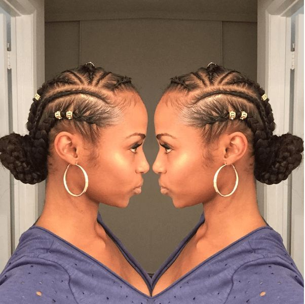 Follow This Feed-in Braids W/ Bun Tutorial for an awesome protective style. Try it on any length of natural hair with extentions.