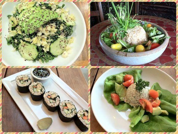 Healthy meals eaten at vegan restaurants.