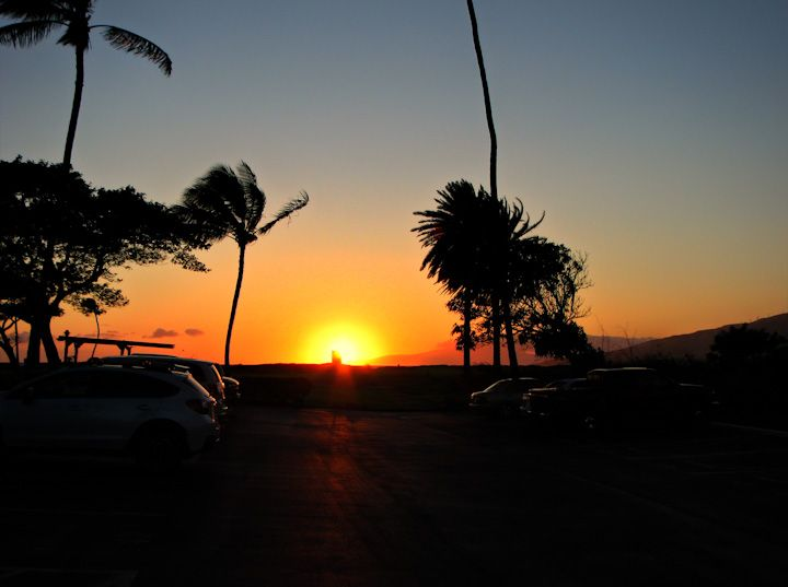 Maui Sunset from the Parking Lot.  Photo by Tim Falkenberg.