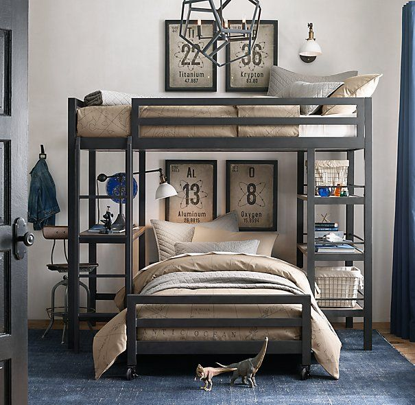 Industrial Loft Twin Study Bunk Bed With 1 Desk
