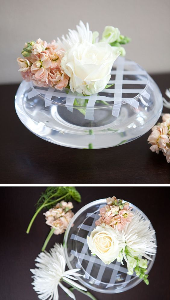 Flower arrangement trick for wide opening bowls and round/bowl vases. Sticky tape can solve the world's problems!