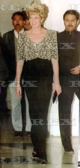 FEB 10 Diana Princess Of Wales India 1992. Princess Diana Is Leaving New Delhi Dazzled Here At The Banquet For The Vice President Of India.