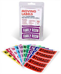 Take the guessing out of moving!  Each kit includes labels for 10 different rooms, each with a different color.    These labels will give your moving helpers all the direction they need when it comes to putting boxes in the right room.