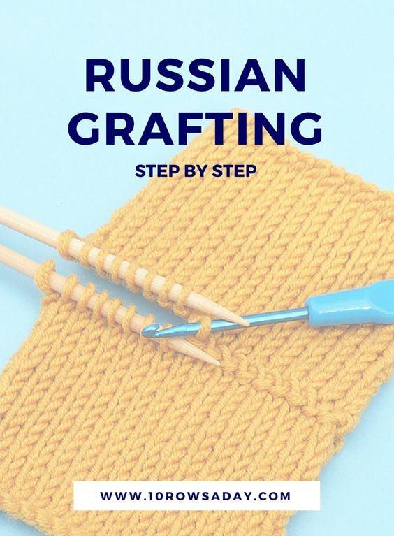 Enxerto russo passo a passo | 10 linhas por dia #knitting #knittinginstructions #k ...
