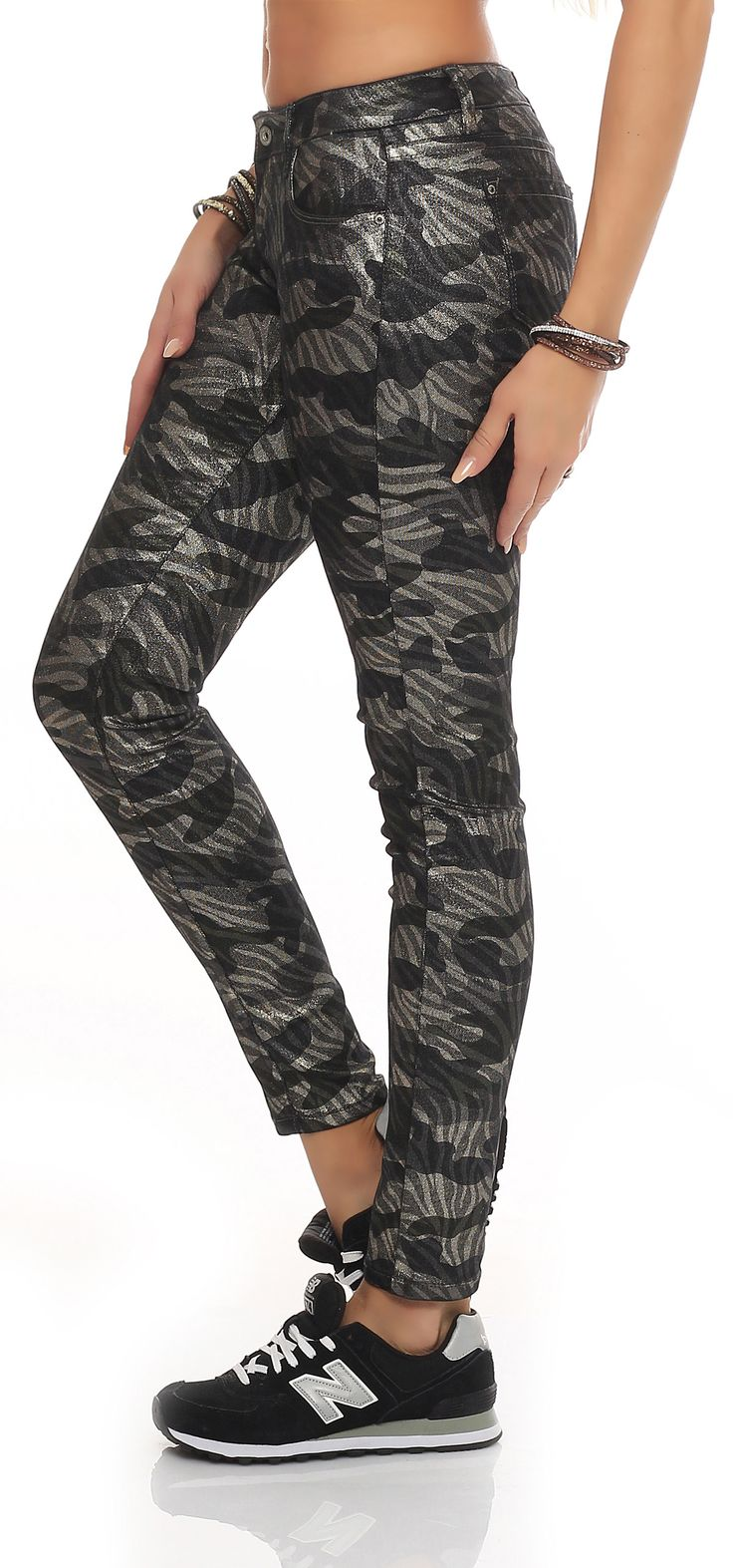 SKUTARI Damen - Jeans Skinny Stretch Glitzer Camouflage Effekt Röhrenjeans – Bild 2