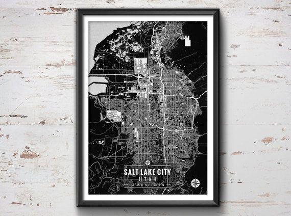 Salt Lake City Map with Coordinates Salt by IdeateCreateStudio