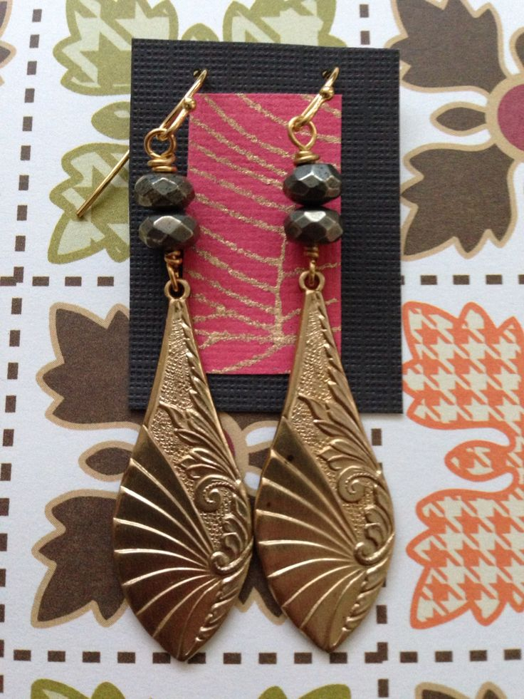 Pyrite and brass earrings