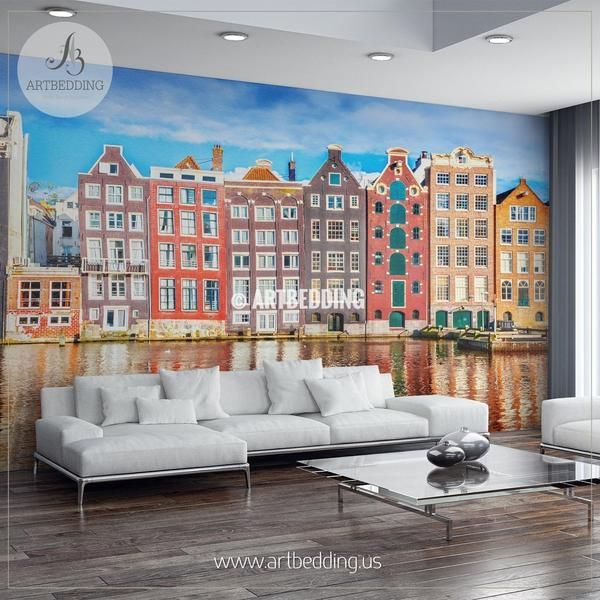The Colorful houses of Amsterdam Wall Mural, Landmarks Photo Mural, photo mural wall décor