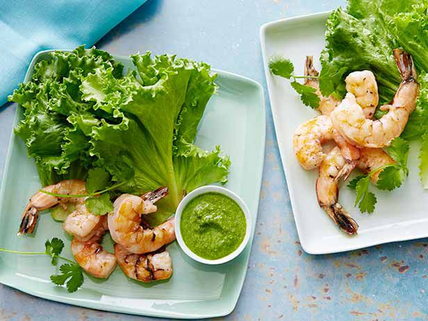 Grilled Shrimp in Lettuce Leaves with Serrano-Mint Sauce recipe from Bobby Flay via Food Network