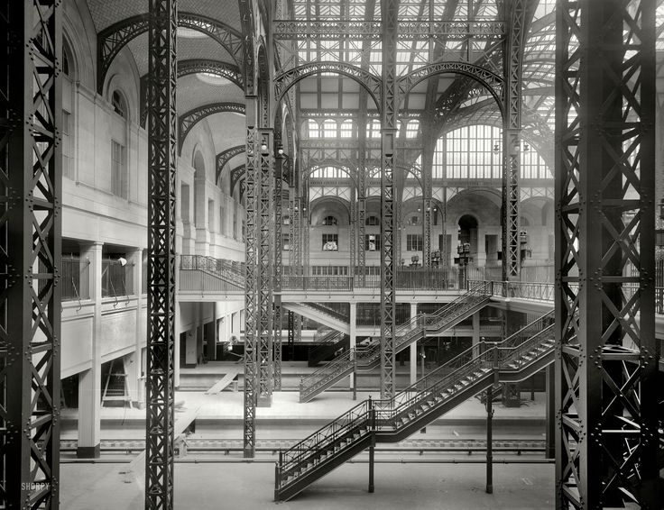 "New York circa 1910. ""Track level, main and exit concourses, Pennsylvania Station."" 8x10 inch glass negative, Detroit Publishing Co. :: Shorpy Historical Photo Archive :: All Aboard: 1910"