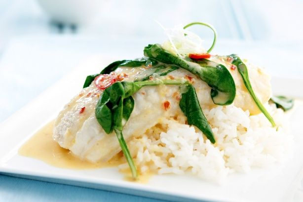 Coconut poached fish. Can make it with coconut milk instead of the cream for a lighter version and put on top of steamed veggies for low carb