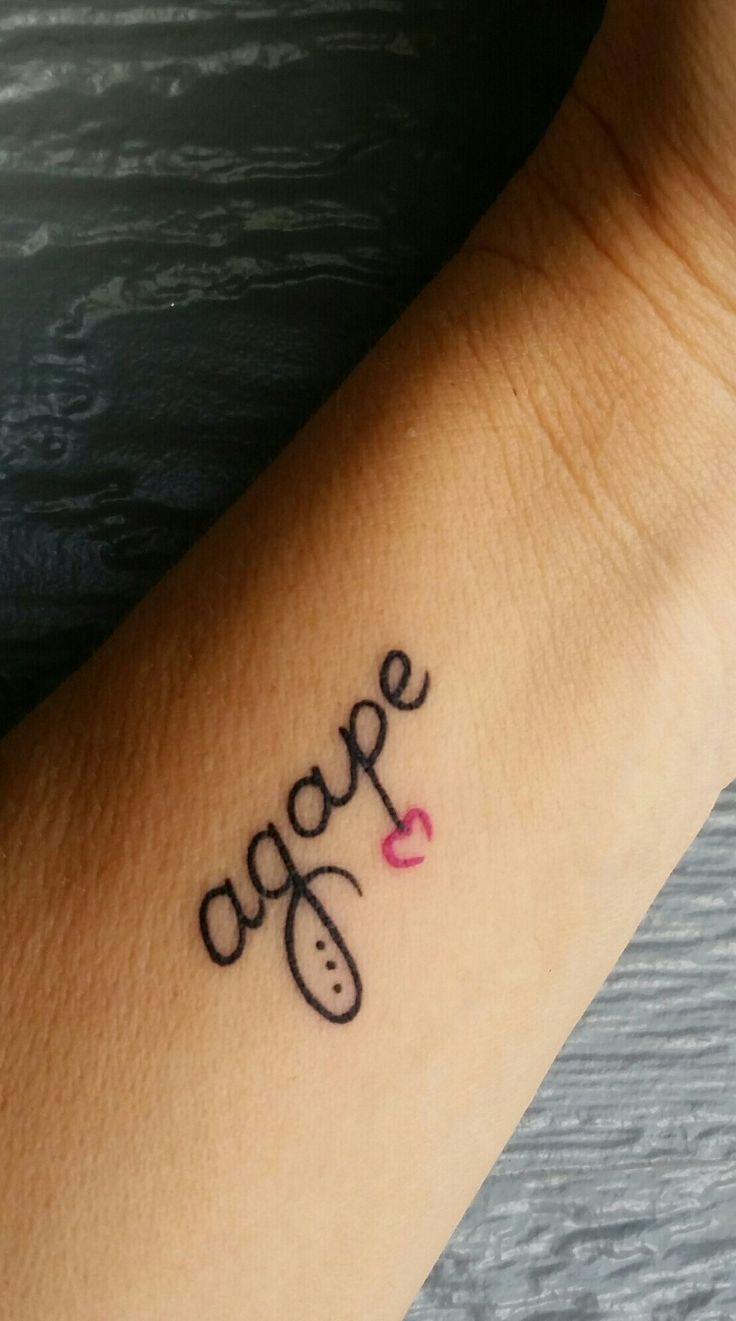 Agape tattoo inner arm wrist
