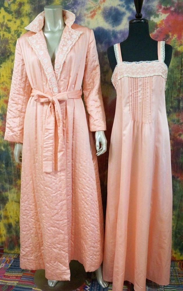 VTG Eve Stillman Saks Fifth Avenue Quilted Robe & Nightgown Peignoir Lingerie S  | eBay