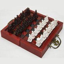 מיני 32 pieces שחמט, סיני Terracota לוחם, צ 'ין צבא משחק נסיעות סט קופסא מתנה(China)