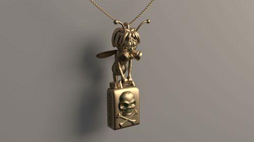 Pendentif de maya l'abeille avec tonneau de pesticide réalisé en or #impression3D #pendentif #bijoux #Maya #pesticide