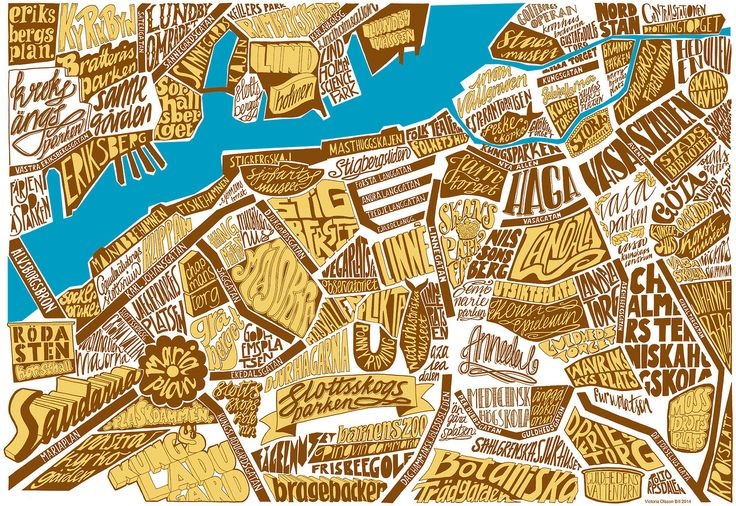 Typographic map over Gothenburg. Artist: Victoria Olsson Bill
