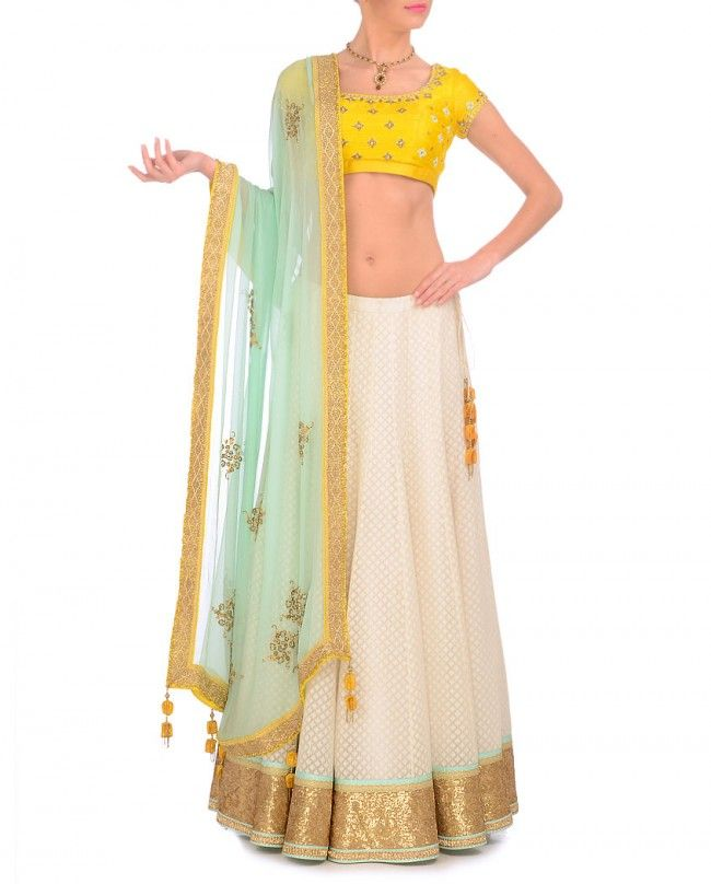 Cream, Yellow & Blue Lehenga Set- Buy Madsam Tinzin,The Best Of Shahpur Jat Online | Exclusively.in MADSAM TINZIN