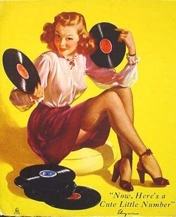 """Now, Here's a Cute Little Number"" - Gil Elvgren, 1947Music, Gilelvgren, Numbers, Records Stores, Vintage Pinup, Pinup Girls, Pinup Art, Gil Elvgren, Pin Up Girls"