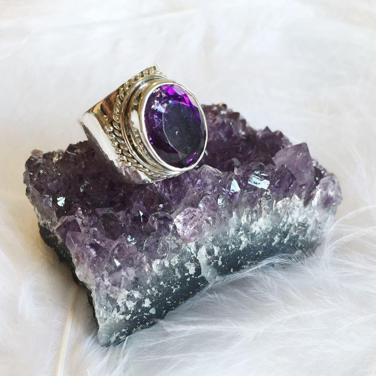 Iona - Amethyst & Sterling Silver Ring – Druzy Dreams