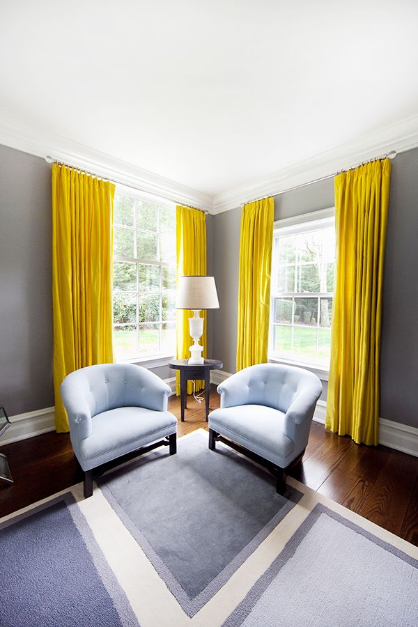 """Not hanging a window treatment properly."" ""Architects may disagree, but I (almost) always hang draperies and Roman shades from just below a molding or ceiling to elongate a room. Draperies should at least kiss the floor."" –Alli Lynner Gilbert, ALG Interiors"