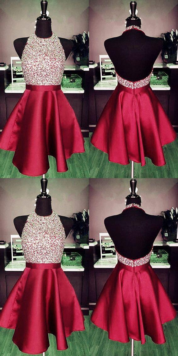 6bdcbe0a33c Burgundy A-line Beaded Halter Satin Prom Dresses Short Open Back Homecoming  Dresses