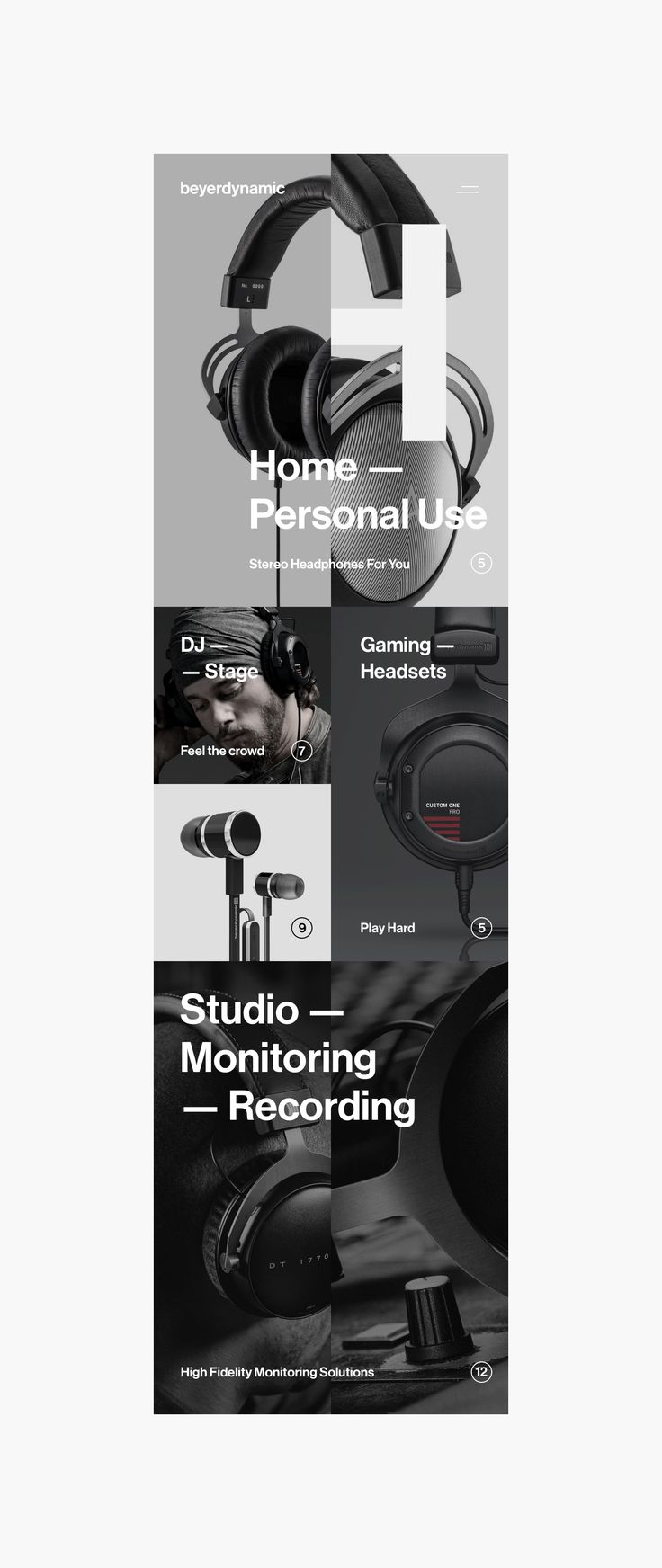 "Art direction, conceptual research and completely refreshed, new mobile web experience for Beyerdynamic company.Electrical engineer Eugen Beyer started his own company in Berlin in 1924 to build cinema speakers. His ""Elektrotechnische Fabrik Eugen Beyer…"