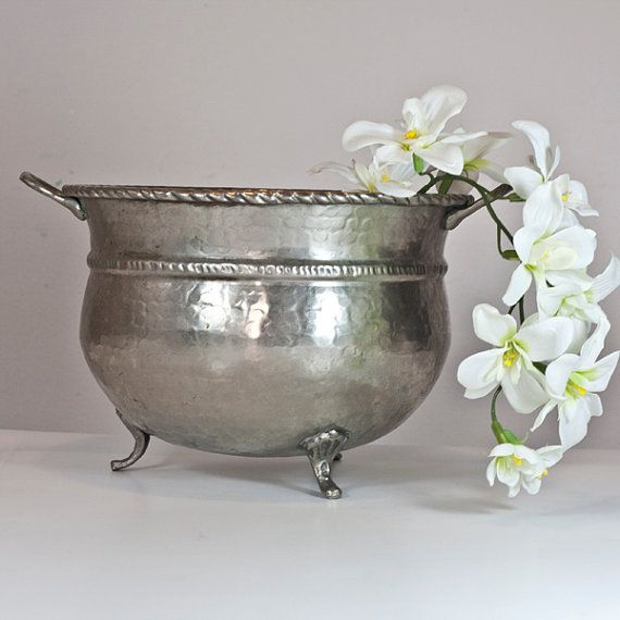 Large Punch Bowl Vintage Silver Plated Wedding Decor Table Settings Dining Entertaining Party Serving Fruit