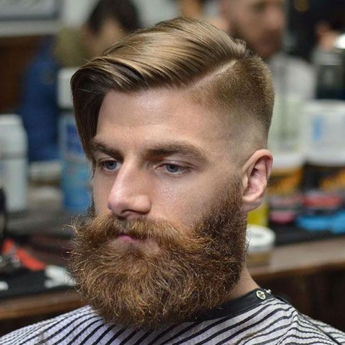 Long Comb Over with High Bald Fade and Beard