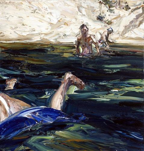04-HARDING-River-figures--blue-lilo--2010-oil-on-Belgian-linen-112x107cm