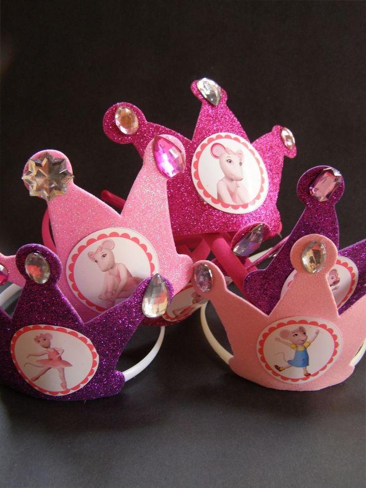 Set 6 Angelina Ballerina Pink Toddler's Birthday Party Headband Crowns Tiaras #Birthdayparty