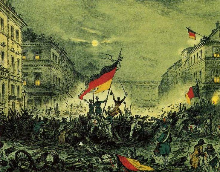 Revolución liberal de 1848 en Berlín, los rebeldes utilizan ya como colores alemanes al negro, rojo y amarillo