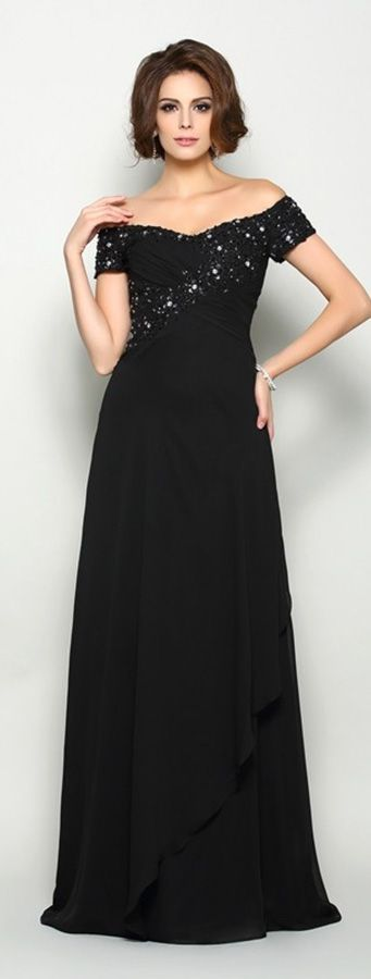 Black beaded off the shoulder long chiffon dress for womens formal occasions