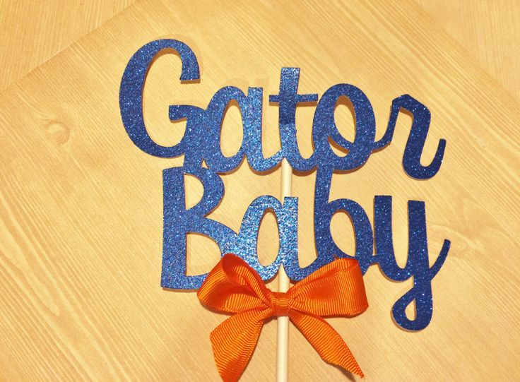 Florida Gator Baby Shower Decorations, Florida Gators Cake Topper, Blue and Orange Baby Shower Decor,Ships 3-5days by PaperExpressionsPlus on Etsy