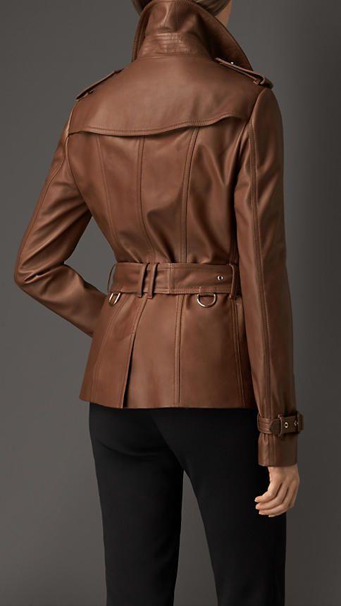 Dark umber brown Leather Trench Jacket - Image 2