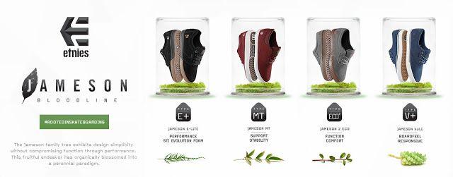 Etnies Jameson Bloodline Memadukan Konsep Hi tech dan ramah lingkungan dengan empat type andalan jameson family skate shoes.