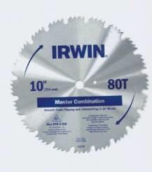 "IRWIN Classic 11270ZR 10"""" 80T Steel Master Combination Circular Saw Blade"