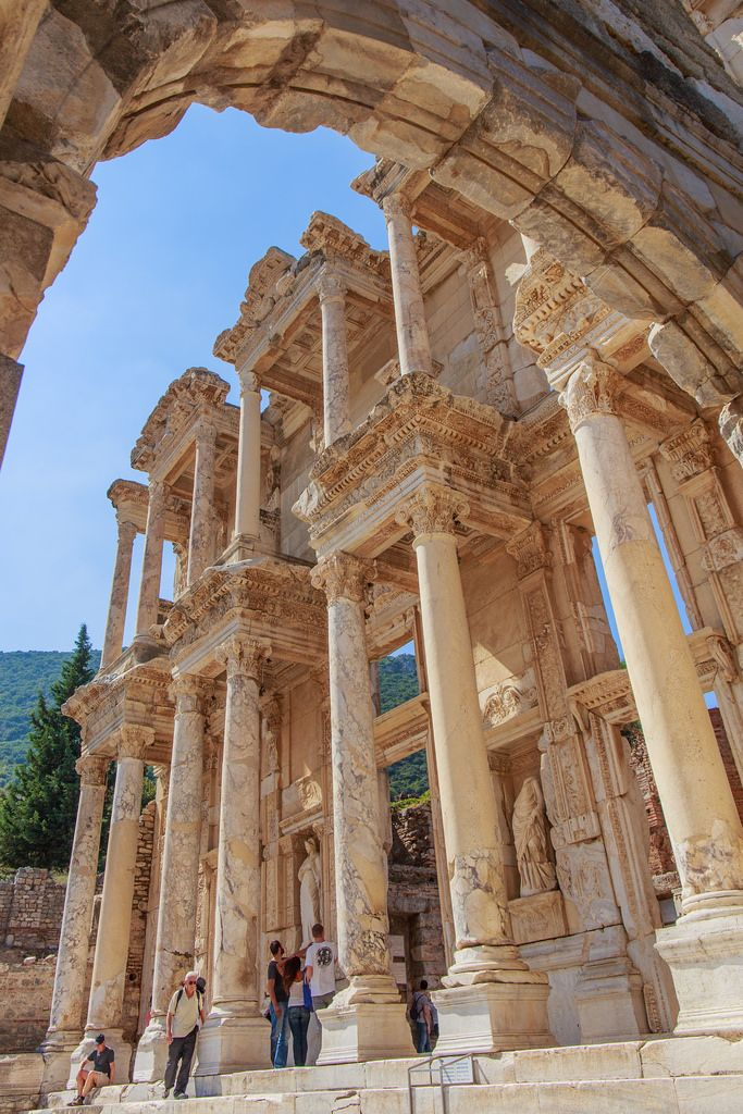 The Library of Celsus, an ancient Roman building in Ephesus, Turkey.
