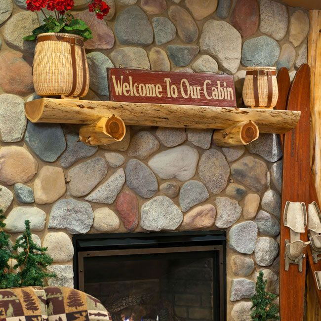 ideas for log mantels above fireplaces   Log Fireplace ...
