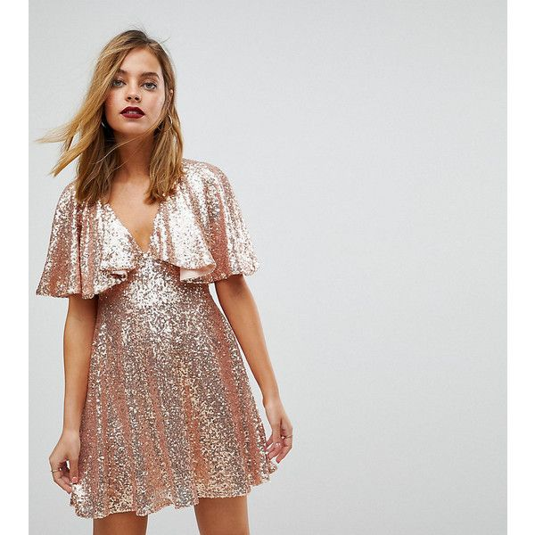 ASOS PETITE Sequin Fluted Sleeve Lace Mini Dress ($82) ❤ liked on Polyvore featuring dresses, petite, pink, sequin dress, pink sequin dress, long-sleeve fit and flare dresses, lace mini dress and petite dresses