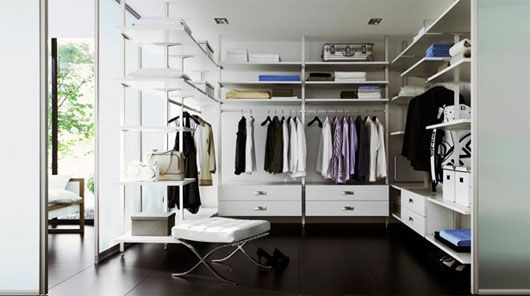 Beautiful walk in closet in white with organizers
