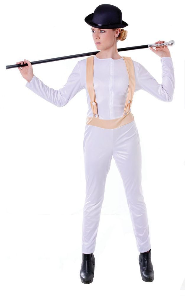 Womens Clockwork Orange One Size Jumpsuit Prisoner Fancy Dress Costume