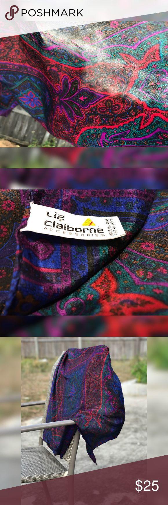Liz Claiborne Scarf Liz Claiborne, Scarf, 41x41, Red, Blue, Green, Purple Liz Claiborne Accessories Scarves & Wraps