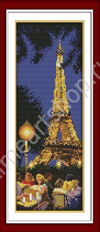 Ночной Париж, набор для вышивки крестом (печатная схема на канве, размер канвы 11+бумажный дубликат+ нити+иглы)производство КНР